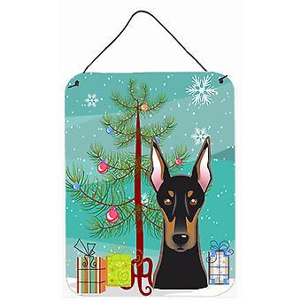 Christmas Tree and Doberman Wall or Door Hanging Prints