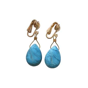 Gemshine - ladies - drop earrings - earrings - gold plated - turquoise - - faceted - blue - 2 cm
