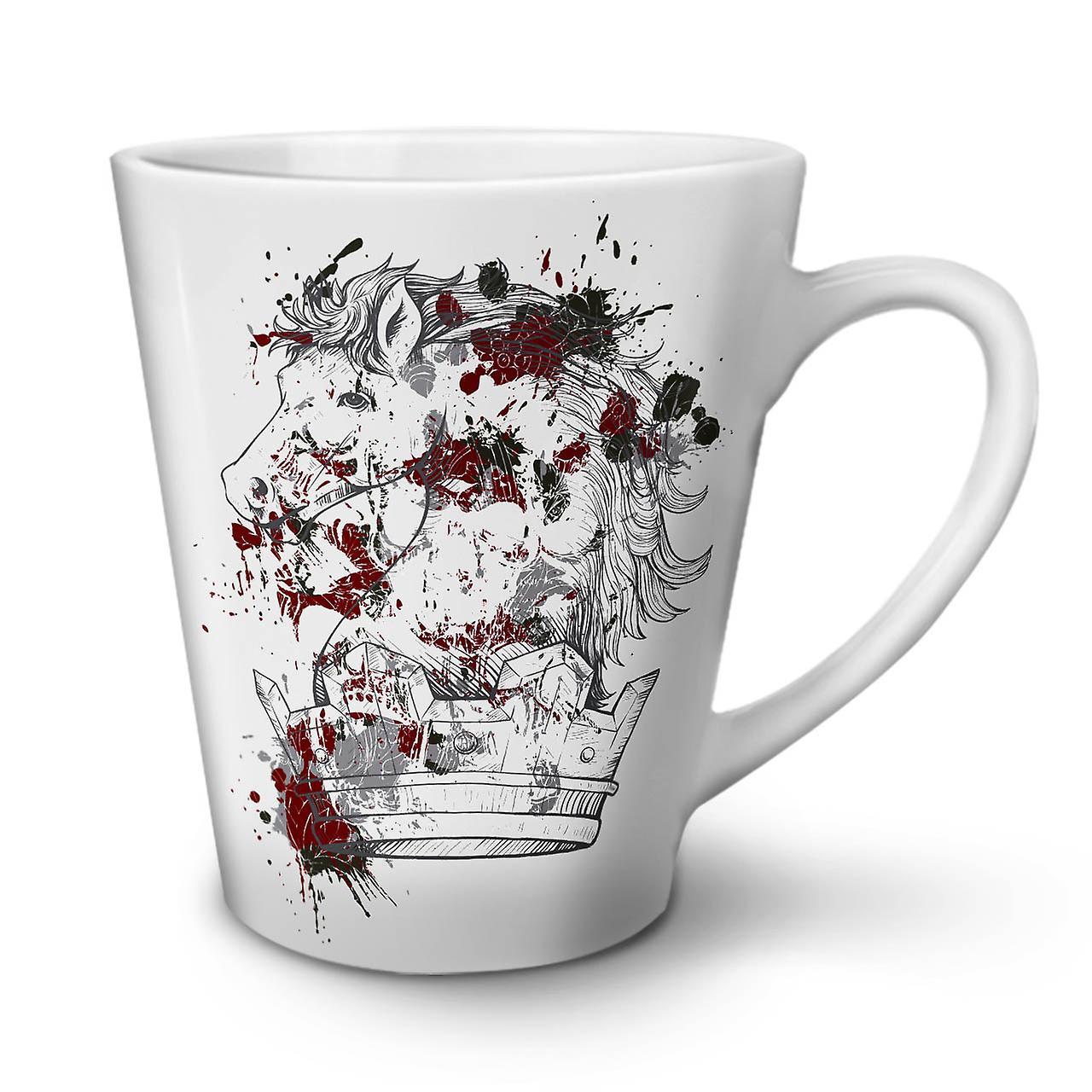 Nouveau OzWellcoda Mug Cheval Blanc Thé 12 Café De Sang Roi Latte Céramique Horreur En 4L35AjR