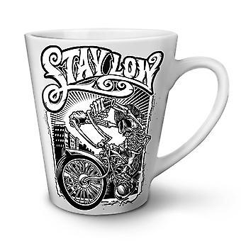 Stay Low Biker Cool Skull NEW White Tea Coffee Ceramic Latte Mug 17 oz | Wellcoda
