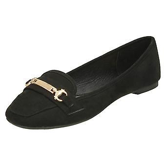 Spot de senhoras na sela Vamp sapatos - preta microfibra - UK tamanho 6 - UE tamanho 39 - tamanho US 8