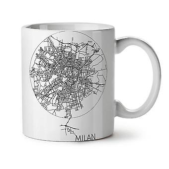 Milán mapa nuevo té blanco taza de café de cerámica 11 oz | Wellcoda