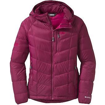 Outdoor Research Womens Sonata Hooded Down Jacket Raspberry/Desert Sunrise (UK Size 10)