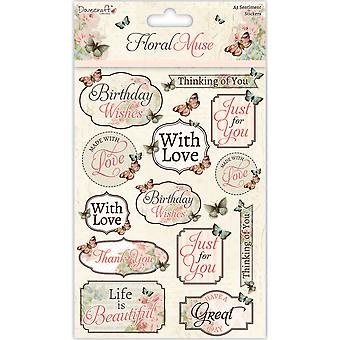 Dovecraft Floral Muse A5 Stickers-Sentiments DCSTK015