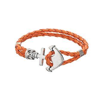 Armband man schedel en anker gevlochten leer oranje en roestvrij staal