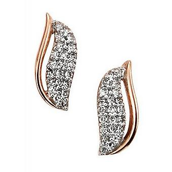 Elements Gold Diamond Harp Stud Earrings - Rose Gold/Clear