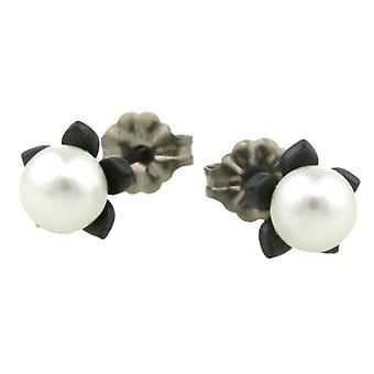 Ti2 Titanium Small Flower and Pearl Stud Earrings - Black