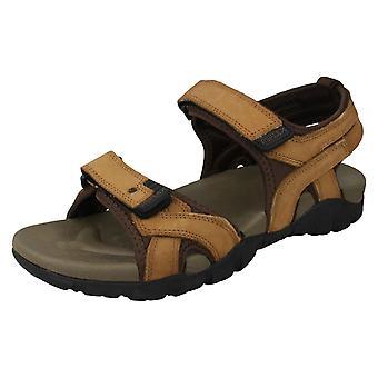Mens Reflex Flat Hook & Loop Sandals A0052 - Tan Leather - UK Size 11 - EU Size 45 - US Size 12