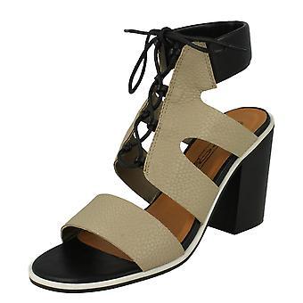 Damer plats på fotled kudde Block klack sandaler F10540