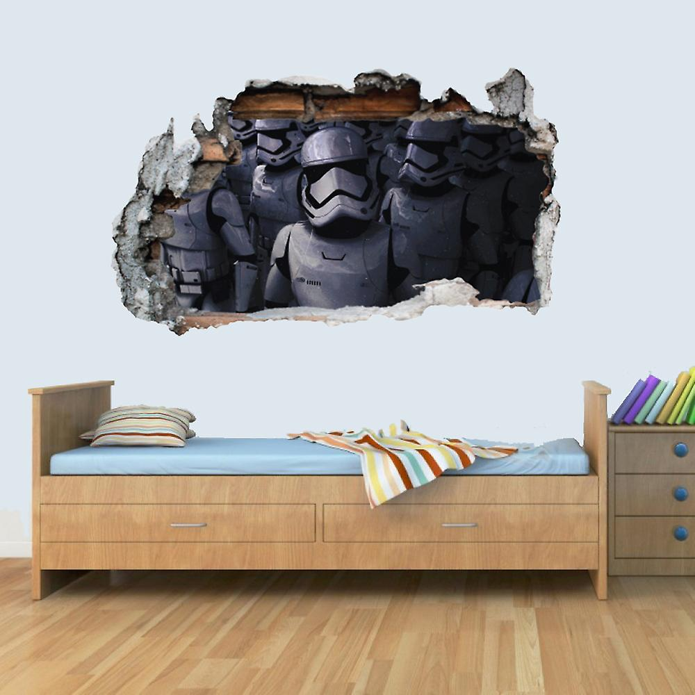 Vinyl Wall Smashed 3D Art Stickers of Illustrated Stormtrooper Poster Bedroom Boys Girls