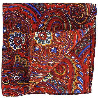 Michelsons van Londen Bright Paisley Silk Pocket Square - oranje