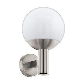 Eglo Aluminium Porch Wall Light With Opal Globe Shade, IP44