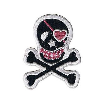Skull Pink Heart Iron-On/Sew-On Patch