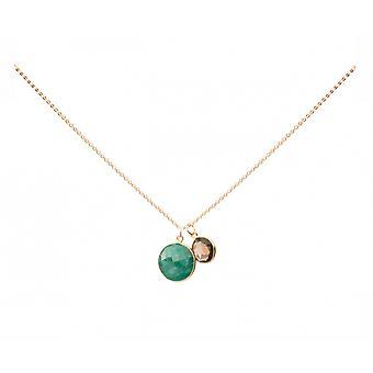 Damer - kjede - anheng - Emerald - Røykkvarts - grønn - brun - gullbelagt 925 sølv - 45 cm