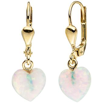 Earrings heart 333 Gold Yellow Gold 2 opal earrings gold earrings opal earrings