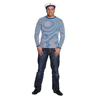 Stripy shirt long sleeve yarn dyed blue/white stripe shirt costume unisex
