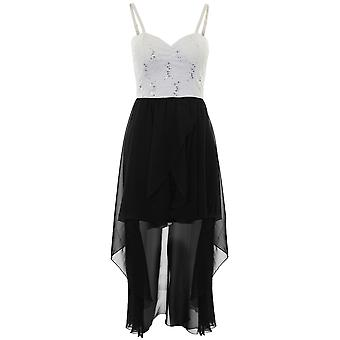 Ladies Strappy polstret Chiffon foret Sequin blonder dyppet Hem Fishtail Maxi kjole