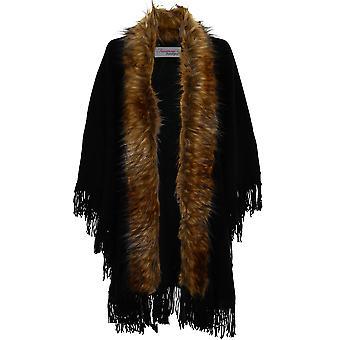 Ladies Faux Fur Trim Single Clasp Waterfall Women's Tassel Shawl Cape Cardigan