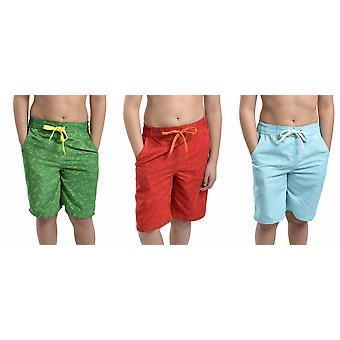 3PK Tom Franks Shark Print Summer Beach Swim Pool Shorts With Mesh Liner