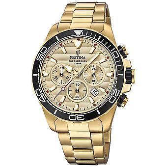 Mens di Festina Oro Acciaio Cronografo quadrante in oro F20364/1