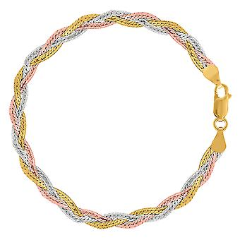 Tricolor gevlochten slang ketting Anklet In Sterling Zilver, 10