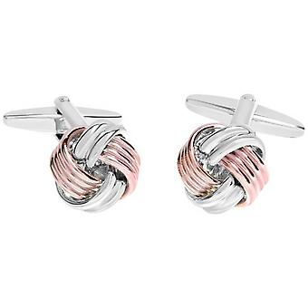 David Van Hagen Shiny Knot Design Cufflinks - Rose Gold/Silver