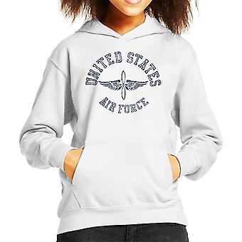 US Airforce Winged Propeller Navy Blue Text Kid's Hooded Sweatshirt