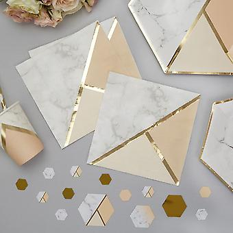 Marble and Peach Napkins x 16 Party / Celebration