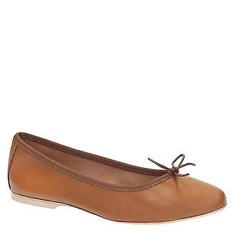 Handmade light brown soft leather ballet flats ballerinas shoes
