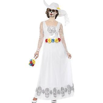 Dag van de dood Skeleton bruid kostuum, grote