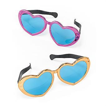 Jumbo Metallic Heart Sunglasses.