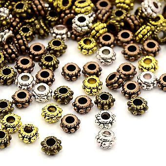 Packet 40+ Mixed Tibetan 5mm Flower Spacer Beads HA15330