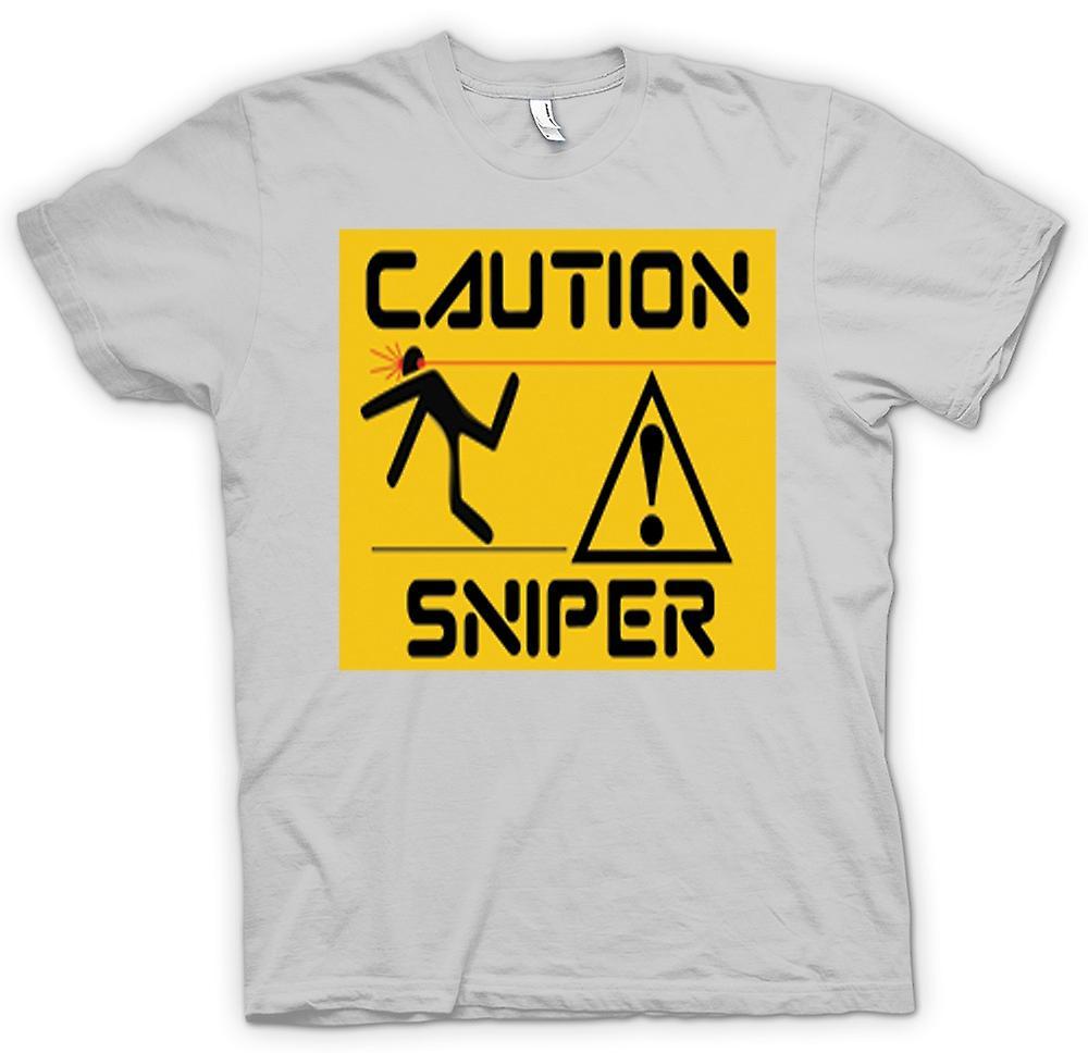 Mens T-shirt - Vorsicht - Sniper-Warnschild