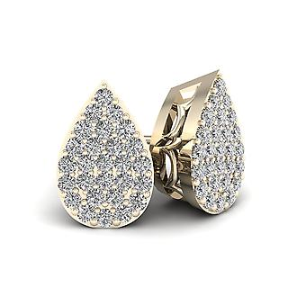 IGI Certified 10k Yellow Gold 0.15ct TDW Diamond Drop Shape Cluster Stud Earring