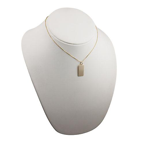 9ct Gold 26x13mm plain rectangular Disc with a cable Chain 16 inches Only Suitable for Children