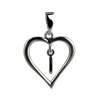 Silver heart Pendant with a hanging Initial I
