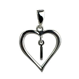 sterling Silver heart with a hanging Initial I
