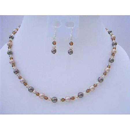 Swarovski Brown Pearls Crystals Flower Girl Or Wedding Jewelry Set