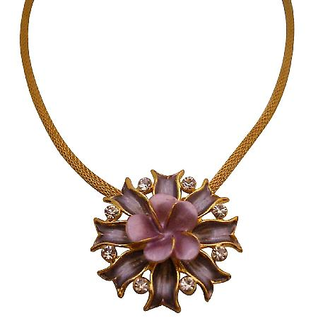 Attention Grabbing lilac & purple flower Pendant