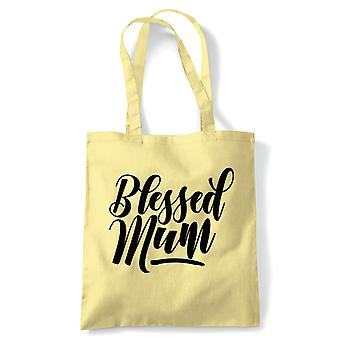 Blessed Mum Tote | Reusable Shopping Cotton Canvas Long Handled Natural Shopper Eco-Friendly Fashion | Gym Book Bag Birthday Present Gift Her | Multiple Colours Available