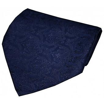 David Van Hagen Victorian Wallpaper Silk Handkerchief - Navy