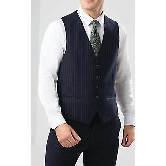 Dobell Mens Navy Waistcoat Tailored Fit Chalk Stripe