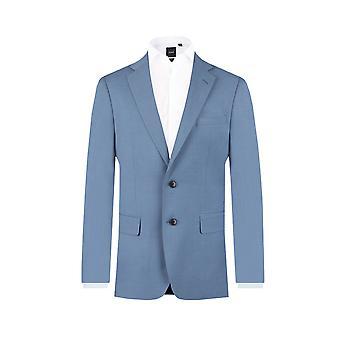 ・ ドベル メンズ光の青いスーツのジャケットがノッチ襟をレギュラー フィット