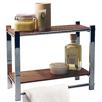 Bambus - Badezimmer Wandregal 2 Tier Lagerung / Towel Rail - Silber / Natur