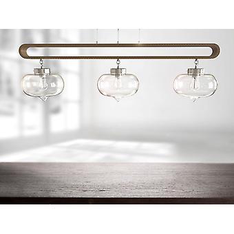 Brillcool modern licht walnoothouten frame lineair helder glas hanger verlichting