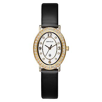 ORPHELIA Ladies Analogue Watch Oval Edition Black Leather 122-1715-14