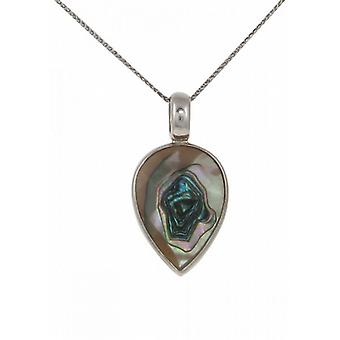 "Cavendish French Sterling Silver and Faceted Abalone Shell Small Teardrop Pendant with 16 - 18"" Silver Chain"