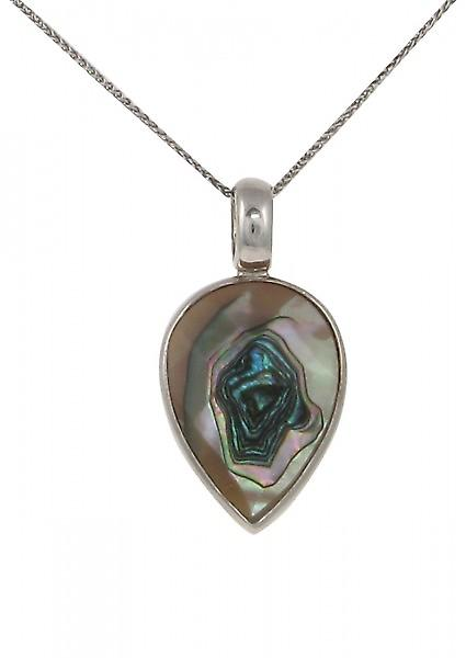 Cavendish French Sterling Silver and Faceted Abalone Shell Small Teardrop Pendant