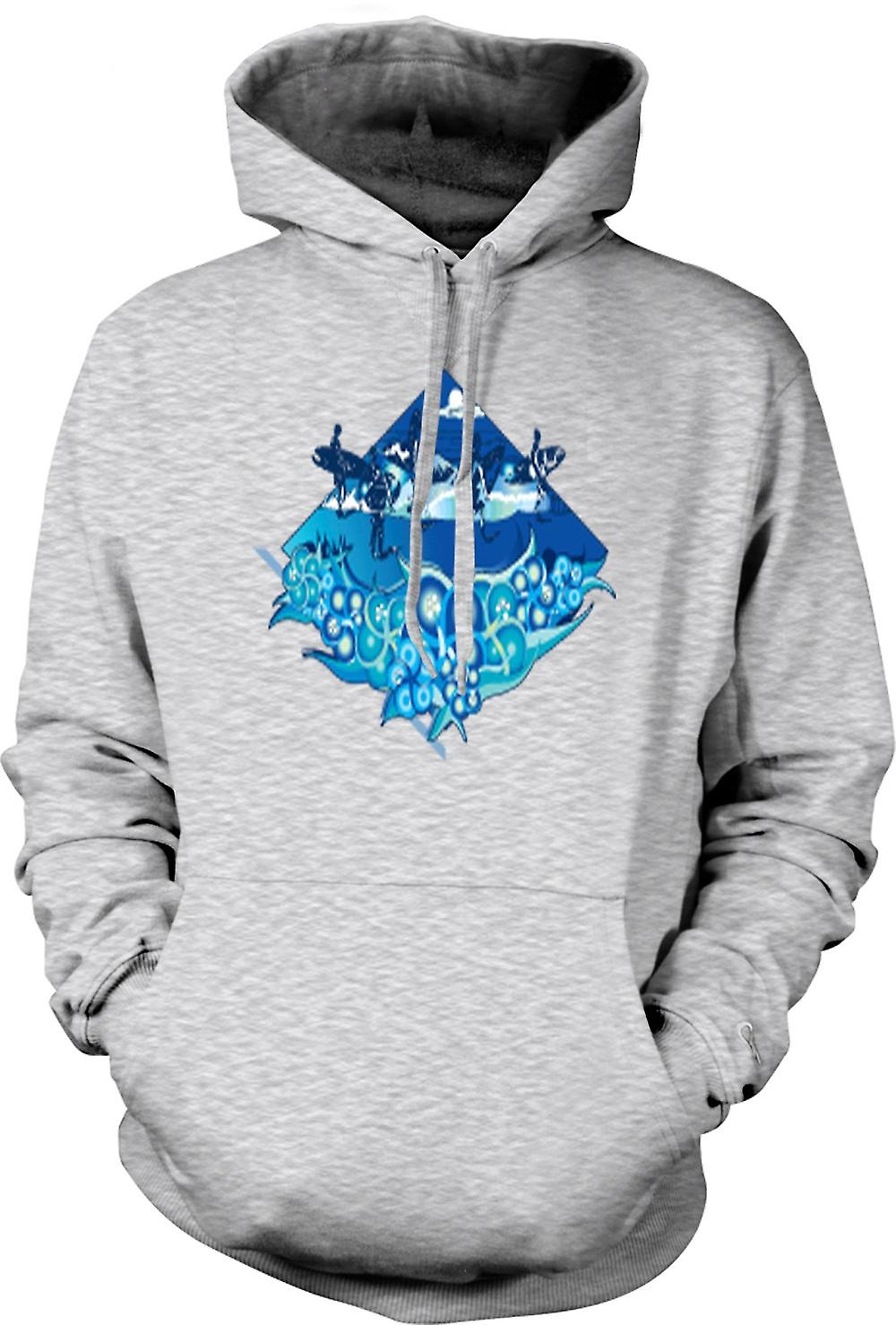 Mens Hoodie - Surfer Design With Waves & Dolphins