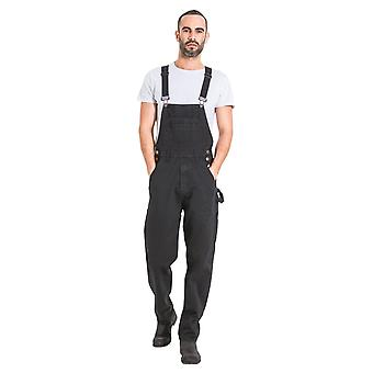 Maddox mens relaxed fit denim dungarees - black